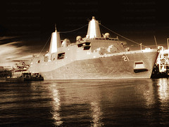 USS New York - Sepia (LizBallerPhotos) Tags: nyc water ship navy sailors hudsonriver marines jayz aliciakeys ussny empirestateofmind