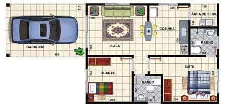 modelos de plantas de casas com 2 quartos
