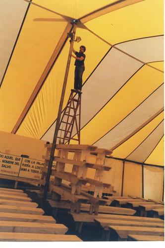Rick installing lights