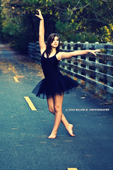 First of Many (EXPLORED!) (BlazinBajan) Tags: road bridge woman black color girl beautiful female outside outdoors dance pretty dress cross gorgeous young dancer barefoot environment series process tutu mbp niks efex majorbphotography