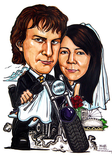 Wedding couple caricatures on motorbike 211109