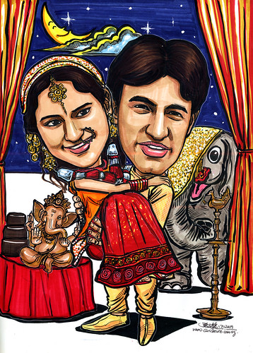 Traditional Indian wedding couple caricatures A4