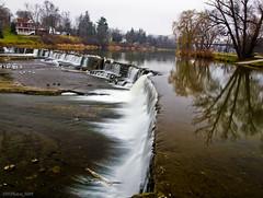 Overcast Autumn Dam Scene (DHPhotos) Tags: autumn reflection water creek river waterfall stream village overcast falls slowshutter brook potofgold diamondclassphotographer flickrdiamond thankyouforflickr