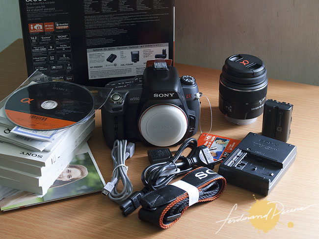 Sony Alpha A550 DT 18-55mm Kit Contents