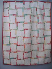 Dear Rosie Baby Quilt: Front (Blue is Bleu) Tags: pink red baby white girl quilt honeybun urbanchicks modasweet