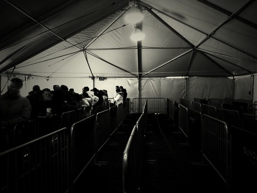 The Sundance press tent, 7:45 a.m.