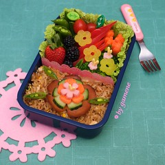 flower fried rice bento (gamene) Tags: cucumber tomatoes strawberries broccoli carrot bento redpepper friedrice blackberries snowpeas clicketyclick fishsausage takuwan vegetarianham gamene