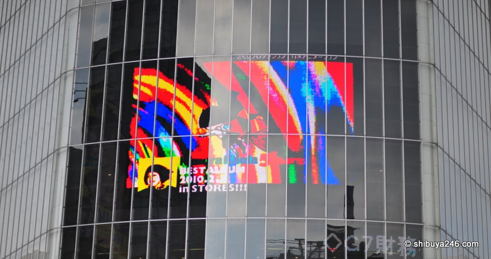This is the large digital billboard on the Tsutaya building, showing today, Kimura Kaela.