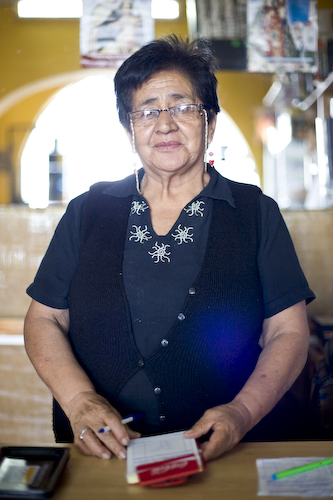 Hayde Bracamonte Flores was a very kind and helpful person who has the stern look of a hardened book keeper, Huanchaco Peru.