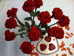 Valentines Love for My Husband and Daughters. Red Crocheted Carnations and Crocheted Hearts.