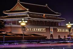 [フリー画像] [人工風景] [建造物/建築物] [天安門] [門/ゲート] [中国風景] [北京] [夜景] [HDR画像]   [フリー素材]