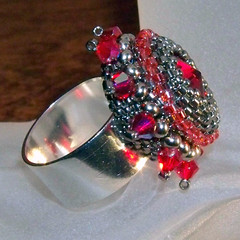 Siam Swarovski Rivoli Cocktail Ring (PinkPoochDesigns) Tags: red rose silver jewelry earrings siam beadwork seedbeads beadweaving beadedring jewelrybeaded beadwoven swarovskirivoliswarovskirivoli beadedcocktailring