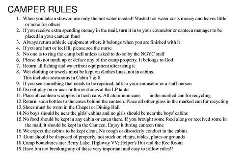 camper rules