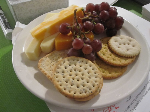 Cheese, crackers and grapes from the bistro - free