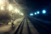 Irreversibility phantasm I. (next_in_line) Tags: light lamp train canon person 50mm veil grain rail noise 400d