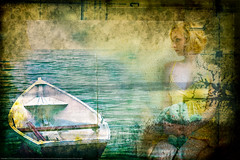Girl and boat (Juha Halmu) Tags: blue red sea summer white green art texture girl yellow photoshop finland dark boat seaside message rowboat lonely vignetting lightroom infinnish