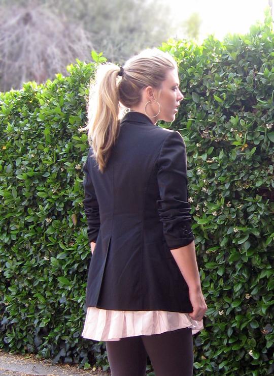 pink dress black blazer, blonde hair in a pony tail, maegan