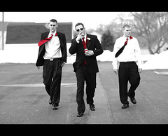 My Mafia Wedding Shot ~ The Tough Guys (~Phamster~) Tags: wedding parkinglot tux mafia selectivecolor redtie toughguys 85l