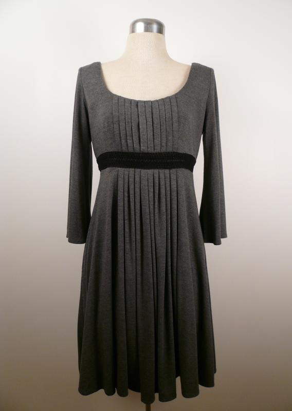Grey_Knit_Pleated_Empire_Waist_Dress_Front