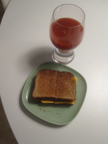 Cheese sandwich, tomato juice