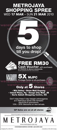 17 - 21 Mar: Metrojaya Shopping Sale Nationwide