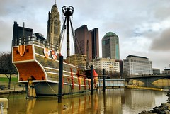 Columbus' Arrival (ShacklefordPhotoArt) Tags: columbus ohio building boat photoart americancity skyscraer anawesomeshot shacklefordphotoartcom artistoftheyearlevel4 shacklefordphotoart donnieshackleford