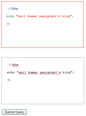 Code highlight in php application