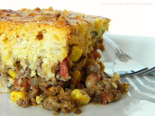 Chili Pie w/ Green Chile & Cheddar Cornbread Crust
