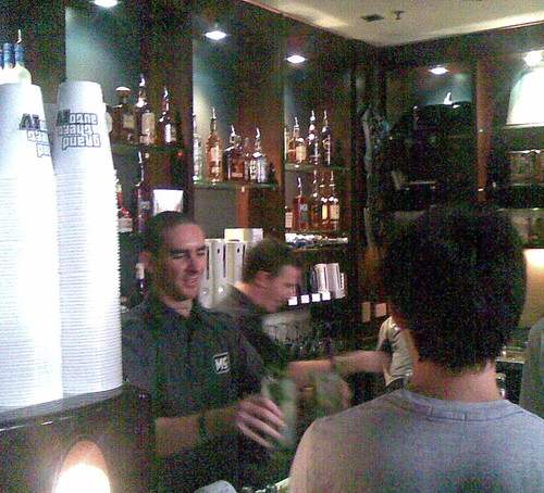 Tending Bar at the Mana Bar opening, Brunswick St, Fortitude Valley, Brisbane, Queensland, Australia 100320