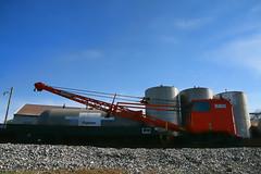 Rail Crane (☩ D L Ennis) Tags: railroad virginia crane burro railcar mounted silos heavyequipment backroad blueridgemountains countryroad royster railcrane rockbridgecounty