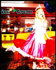 Cuenco helado rosa vintage