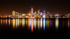 Electric Perth (Mark Solly (F-StopNinja)) Tags: perth longexposurewaterreflectionskylinecitylightsriverwesternaustralianightshotnightcolorscoloursrippleskyscraperskyscrapers
