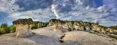 Mushroom Field (Didenze) Tags: world travel light sky panorama texture tourism nature mushroom field rock stone clouds wonder sandstone hill shapes science erosion adventure formation exotic bulgaria worldwide limestone mineral forms weathered form unusual geology shape curiosity hdr paradox goldenhour rockformations weathering rockmushrooms beliplast didenze