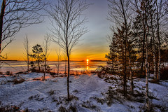 Sun just above the horizon (ArtDvU) Tags: sunset sunny sun lake lakescape lakeshore icy ice finland winter afternoon wideangle landscape canon eos 7d mkii sigma 1020 hdr hirvijärvi southern ostrobothnia