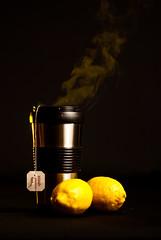 Hot Cup of Tea-1 (Flying Rooster) Tags: food black hot color metal studio lemon tea clean medicine setup sick gel strobist
