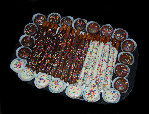 chocolate dipped pretzel and oreo Bar Mitzvah dessert tray