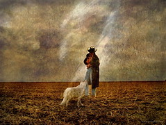 The Farmer and his Dog - A4 (h.koppdelaney) Tags: life dog white art nature field digital photoshop cowboy energy symbol earth philosophy soil farmer metaphor basic symbolism psychology archetype instinct graphicmaster magicunicornverybest
