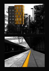 The Yellow leads to London (Hev-Ding) Tags: building london station yellow train angle perspective fujifilm colouring selective flickrchallengegroup flickrchallengewinner s5700 hevding