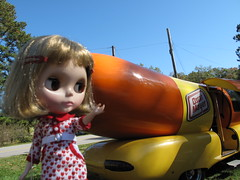 Isobel visiting the Wienermobile at the Athens Humane Society.
