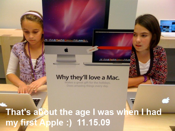 Two girls in an Apple Store
