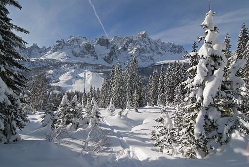 Vista dal Monte Elmo verso il Passo Monte Croce e le Dolomiti di Sesto