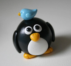 Big Round Penguin with Bluebird (fliepsiebieps1) Tags: cute bird penguin fat polymerclay round kawaii figurine fliepsiebieps