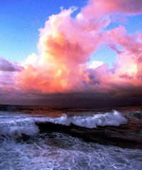 Pacific Ocean Beauty, Nature Colours (moonjazz) Tags: ocean california pink blue sky favorite cloud white storm color colour nature water beautiful beauty weather coast marine surf pacific earth pastel wave science best photograph cumulus humid barometer facts moonjazz