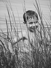 Mikes (lifeinmyzoo) Tags: bw beach coast child seashore seagrass orleansma caoecod