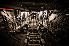 dans le tunnelier (never ends) Tags: trip travel red urban paris france metal photoshop underground subway photo metro tunnel exploration staircases tunnelier ratp chantier urbaine inthetunnel