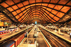 Southern Cross Station (` Toshio ') Tags: city longexposure people station architecture night hub stairs train buildings dark lowlight downtown cityscape nightscape nightshot oz transport perspective australian tracks rail railway australia melbourne wideangle victoria ceiling trainstation transportation aussie hdr highdynamicrange regional interchange railroadtracks toshio southerncrossstation highdynamicresolution