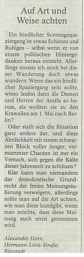 Leserbrief in Bürstädter Zeitung 29.12.2009