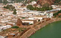The Ancient and the Modern - The Twain Shall Never Meet (Nagarjun) Tags: chalukya rockcut badamicaves