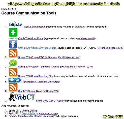 T4T - Course Communication Tools (Powerful Ingredients for Blended Learning)