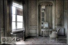 Private Quarters (♥ Damona-Art •.¸¸.•´¯`•.♥.•´¯`) Tags: light castle abandoned window fairytale lost photography mirror bedroom nikon raw belgium belgique chairs decay room secret wideangle explore mystical chateau hdr urbex d300 sigma1020 bookofsecrets urbexation damona chateauduloup
